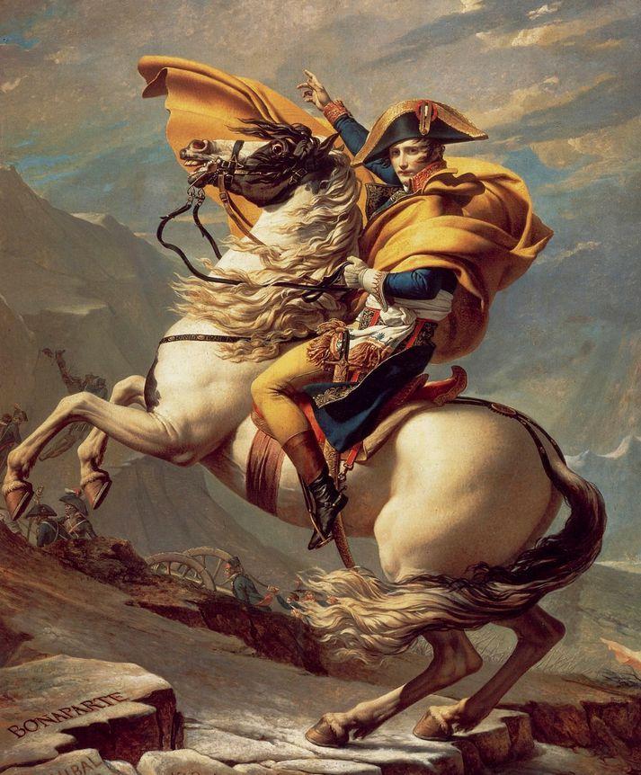 Napóleon fer yfir Alpana, málverk eftir Jacques-Louis David.