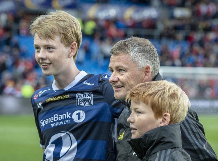 Ole Gunnar Solskjær ásamt sonum sínum, Noah og Elijah.