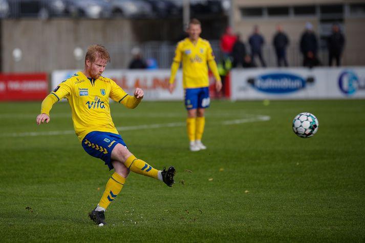 Guðmundur Karl kom Fjölni á bragðið í Lengjudeild karla í knattspyrnu sumarið 2021.