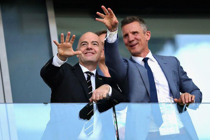 Guðni Bergsson og Gianni Infantino, forseti FIFA.