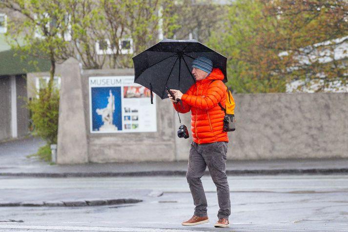 Nokkuð hvasst hefur verið á höfuðborgarsvæðinu í dag.