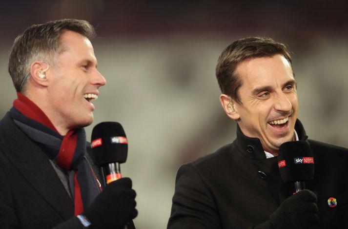 Carragher og Neville saman í vinnunni.