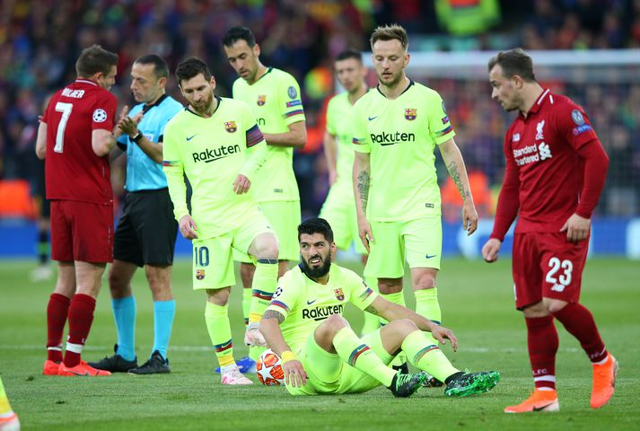 Suárez náði sér ekki á strik á Anfield, ekki frekar en aðrir leikmenn Barcelona.