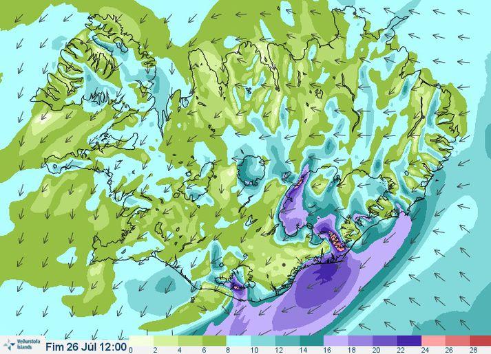 Eins og sjá má á þessu vindaspákorti morgundagsins verður veðrið ekki álitlegt suðaustanlands á morgun.