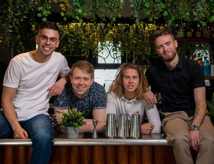 Hér eru þeir Jakob Eggertsson, Jónas Heiðarr Guðnason, Ólafur Andri Benediktsson og Sindri Árnason eigendur Jungle.