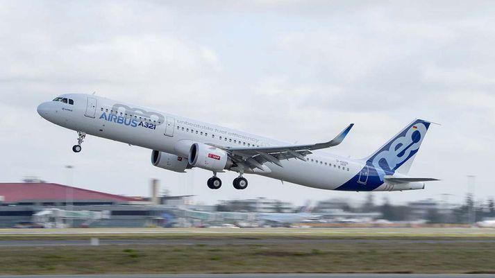 Airbus A321neo í flugtaki. Þetta er þotan sem forstjóri Icelandair segir henta félaginu best til að leysa Boeing 757 af hólmi.