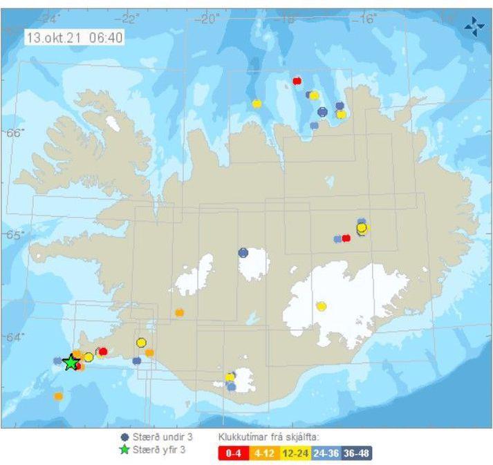 Skjáfltarnir áttu upptök sín á Reykjaneshryggnum.