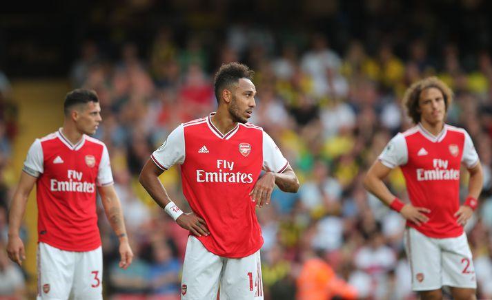 Leikmenn Arsenal svekktir í gær.