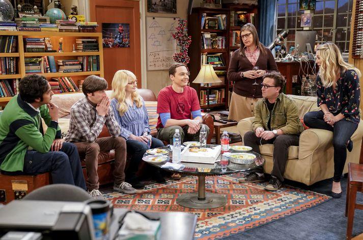Vinahópur þeirra Sheldons og Leonards er hér samankominn í sófanum.