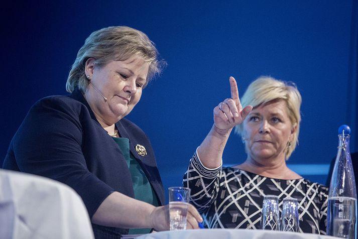 Erna Solberg og Siv Jensen munu funda síðar í dag.