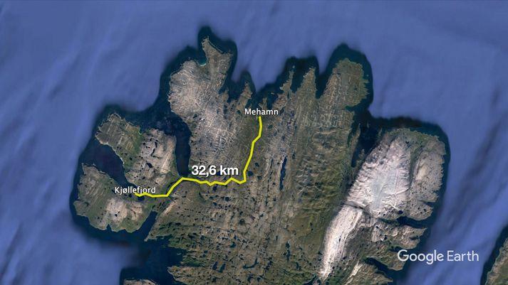 Lögregluþjónar komu frá bænum Kjøllefjord sem er í rúmlega 30 kílómetra fjarlægð frá Mehamn.