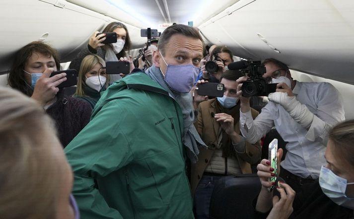 Alexei Navalní, skömmu áður en hann var handtekinn þegar hann sneri aftur til Rússlands.