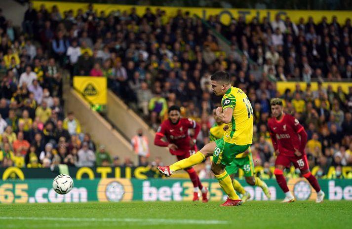 Christos Tzolis tók víti gegn Liverpool sem var varið. Liverpool vann leikinn og komst áfram í deildabikarnum.