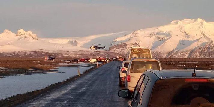 Frá vettvangi slyssins við Háöldukvísl á Skeiðarársandi.