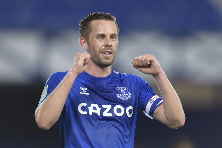 Everton v Salford City - Carabao Cup Second Round LIVERPOOL ENGLAND - SEPTEMBER 16: Gylfi Sigurdsson of Everton celebrates his goal during the Carabao Cup Second Round match between Everton and Salford City at Goodison Park on September 16, 2020 in Liverpool, England. (Photo by Tony McArdle/Everton FC via Getty Images)