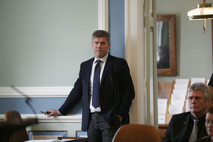 Bjarni Benediktsson, fjármálaráðherra, á þingi í dag þar sem hann kvaddi sér hljóðs undir liðnum fundarstjórn forseta.