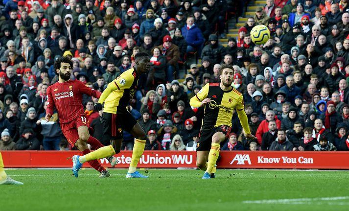 Salah kemur Liverpool í 1-0.