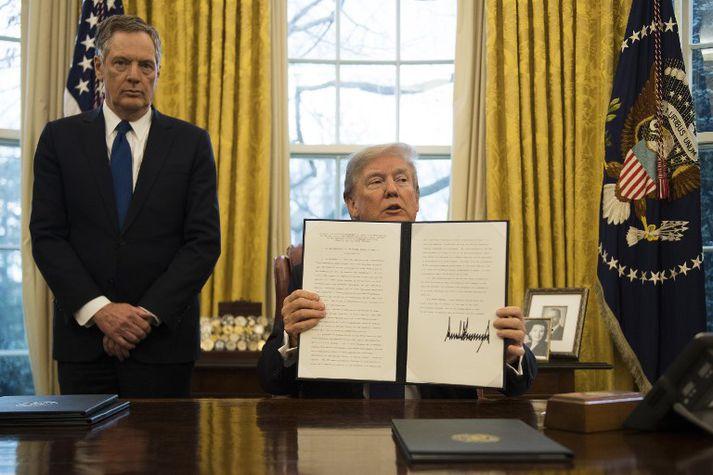 Trump hikaði ekki við að leggja á tuga prósenta verndartolla á innfluttar sólarsellur og þvottavélar í janúar.