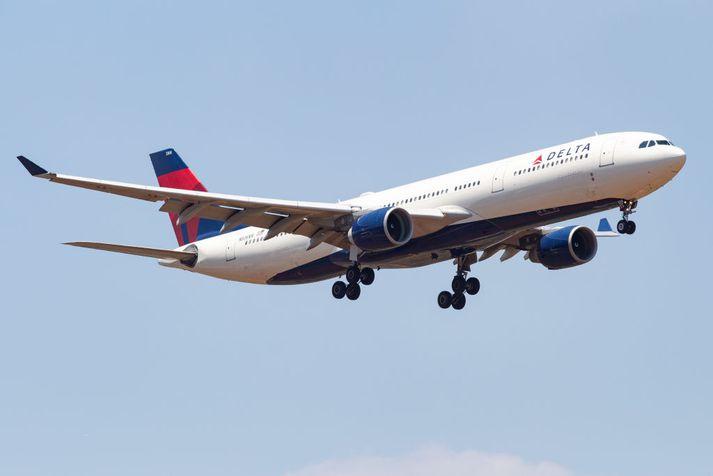 Vél Delta Airlines, sambærileg þeirri sem lendir á Keflavíkurflugvelli.