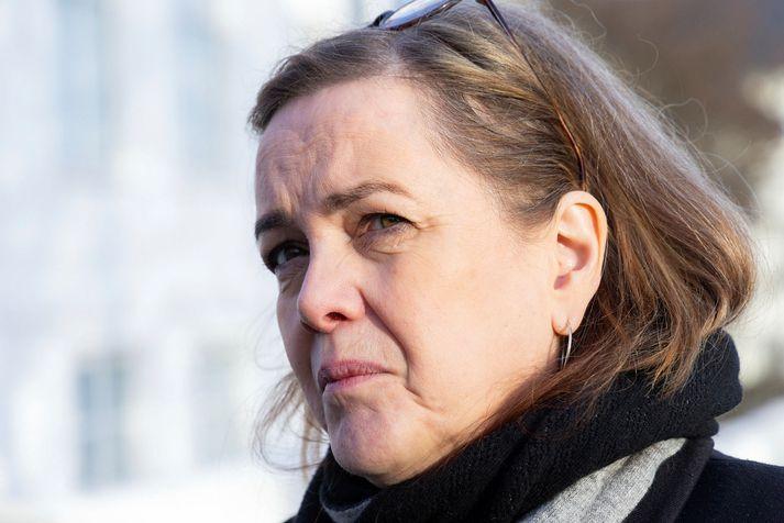 Svandís Svavarsdóttir ræddi við fréttamenn eftir ríkisstjórnarfund í morgun.