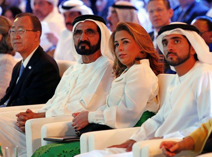 Sjeik Mohammed al-Maktoum (t.v) með Hayu prinsessu árið 2016.