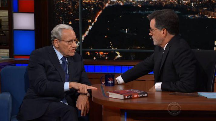 Bob Woodward og Stephen Colbert.