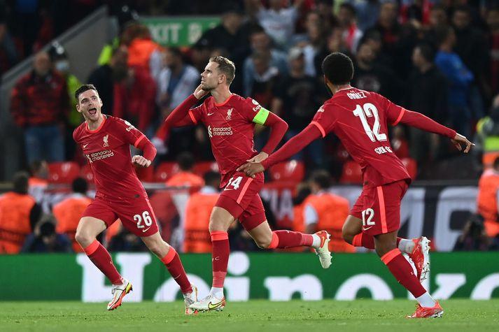 Jordan Henderson tryggði Liverpool sigurinn í kvöld.