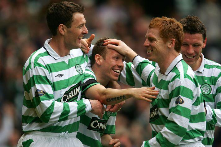Chris Sutton og Neil Lennon voru samherjar hjá Celtic.