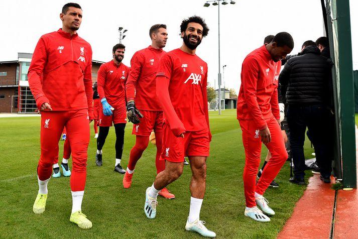 Það var létt yfir Mohamed Salah á æfingunni í gær.
