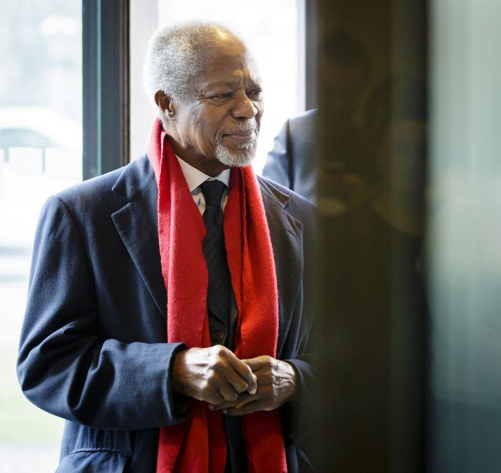 Kofi Annan kom til Íslands árið 2011 og ávarpaði hátíðarmálþing Háskóla Íslands í tilefni af aldarafmæli skólans.