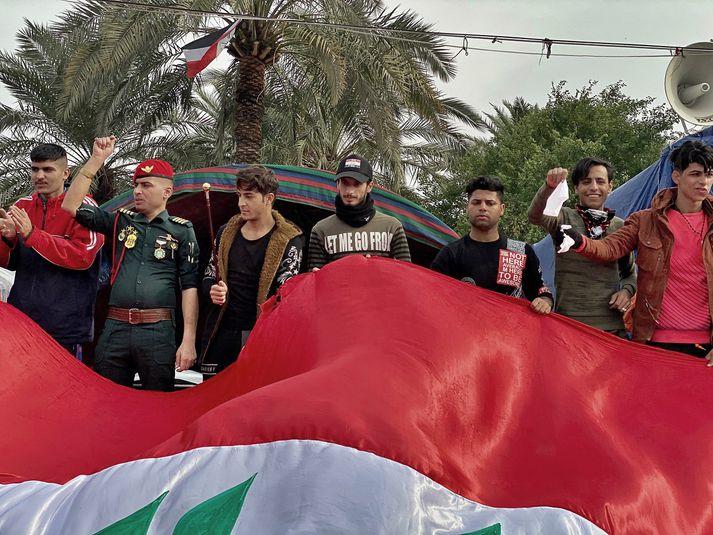 Frá mótmælum á Tahrir-torgi í gær.