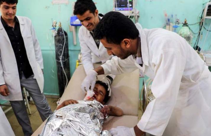 Jemenskt barn fær aðhlynningu á sjúkrahúsi í Saada-fylki en 29 börn létust í loftárásinni.