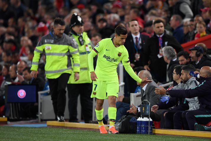 Coutinho náði sér ekki á strik þegar Barcelona steinlá fyrir Liverpool, 4-0, á Anfield.