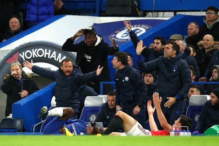 Harry Maguire og Michy Batshuayi liggja í grasinu eftir atvikið en bekkurinn hjá Chelsea trompast.