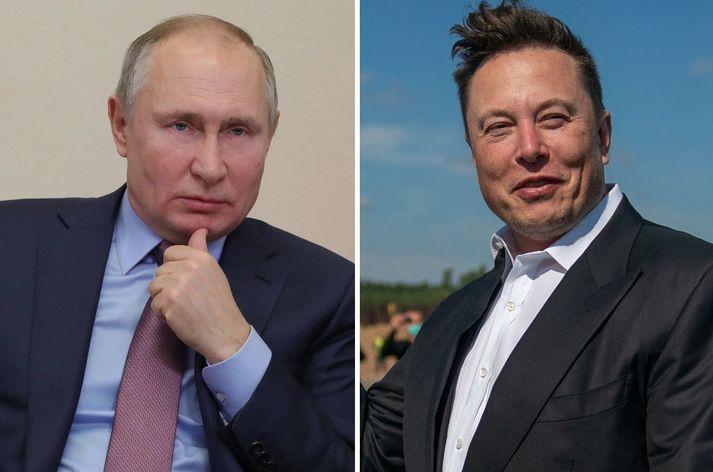 Vladimír Pútín og Elon Musk.