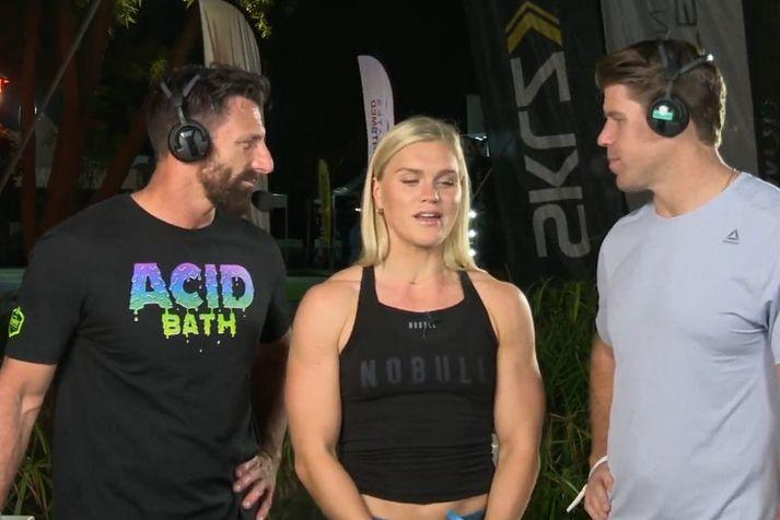 Katrín Tanja Davíðsdóttir mætti í útsendinguna frá Dubai CrossFit mótinu.