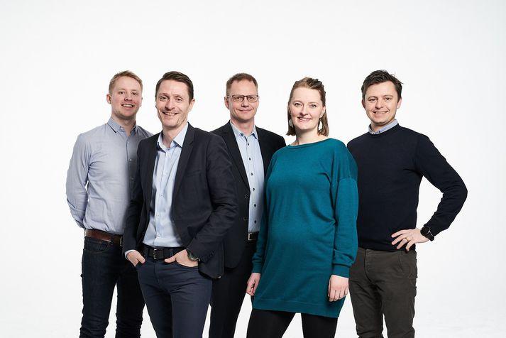 Mynd fv., stjórnendur Ankeri: Óskar Sigþórsson, Leifur Kristjánsson, Kristinn Aspelund, Nanna Einarsdottir og Helgi Benediktsson