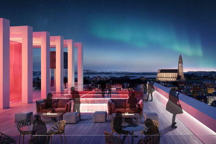 Veröndin á þakinu verður einn besti útsýnisstaður Reykjavíkur. Þar verður RED Sky bar.