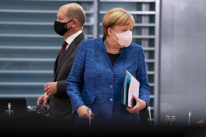 Angela Merkel Þýskalandskanslari og Olaf Scholz, fjármálaráðherra og kanslaraefni Jafnaðarmannaflokksins í næsti kosningum.