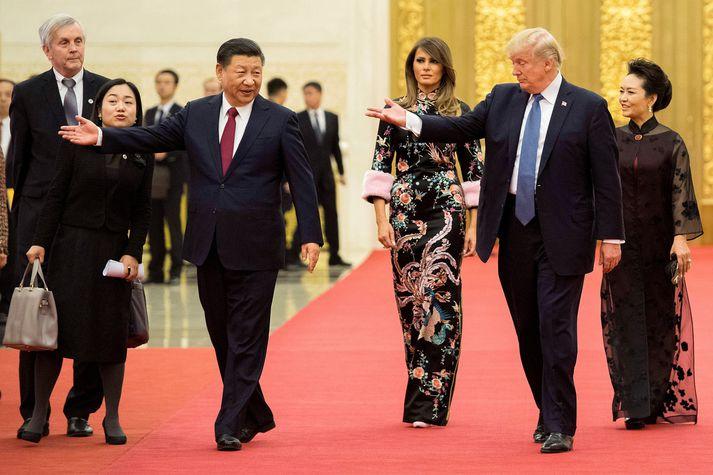 Donald Trump heimsótti Kína í gær og átti fund með Xi Jinping, forseta landsins.