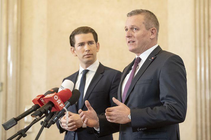 Sebastian Kurz, kanslari, og Mario Kunasek, varnarmálaráðherra.