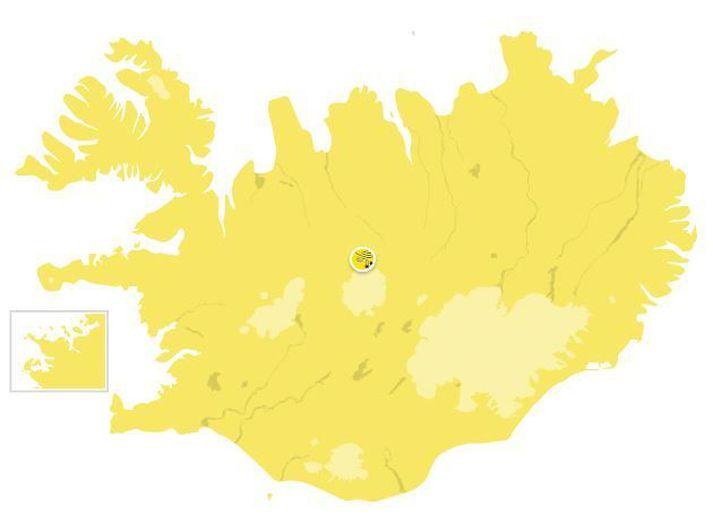 Gular viðvaranir eru í gildi fyrir allt landið á sunnudaginn.