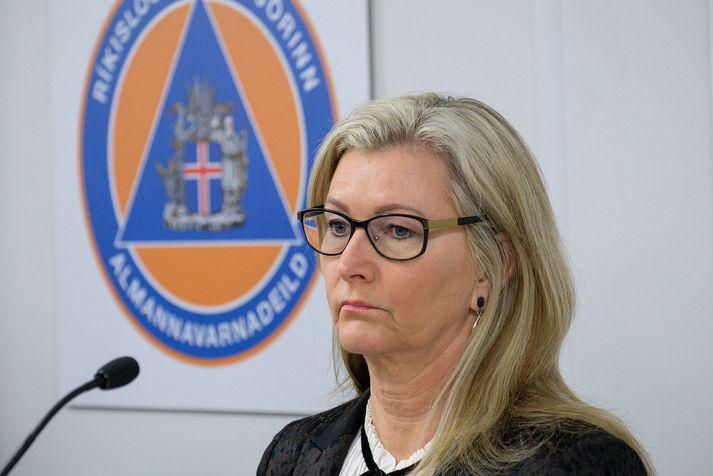 Alma Dagbjört Möller landlæknir var á sínum stað á upplýsingafundinum.
