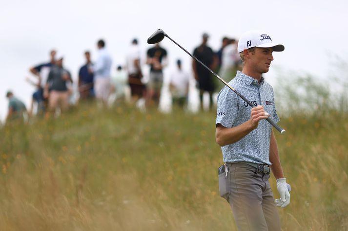 Will Zalatoris fékk örn á 12. holu á Royal St George's golfvellinum sem Opna breska meistaramótið fer fram á.