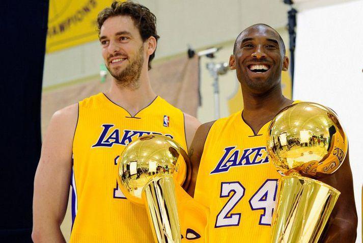 Kobe Bryant og Pau Gasol urðu NBA-meistarar saman 2009 og 2010.