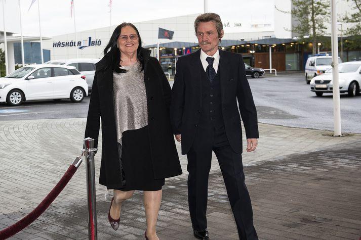 Inga Sæland og Óli Már Guðmundsson mættu prúðbúin á hátíðarkvöldverð í tilefni 100 ára fullveldisafmælis Íslands í fyrradag.