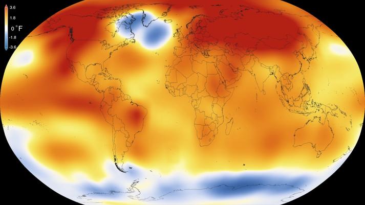 Kaldur blettur er greinilegur á grafi NASA og NOAA yfir miðgildishita á jörðinni metárið 2015.