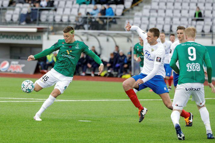 Brynjólfur Andersen Willumsson skoraði sitt fyrsta mark í sumar gegn Gróttu í kvöld.