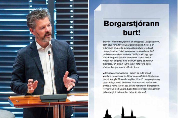 Dagur B. Eggertsson, borgarstjóri. Önnur síða opnuauglýsingar Bolla Kristinssonar athafnamanns er til hægri á mynd.