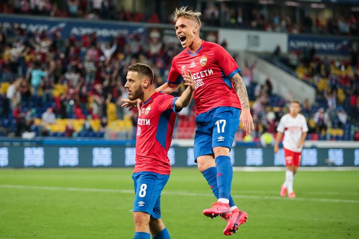 Arnór Sigurðsson lagði upp fyrra mark CSKA Moskvu í dag.